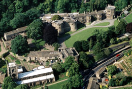 An aerial view of Skipton Castle