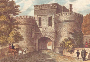 Entrance to Skipton Castle in 1829 Click for larger image
